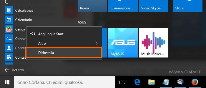 come si disinstalla un programma con Windows 10