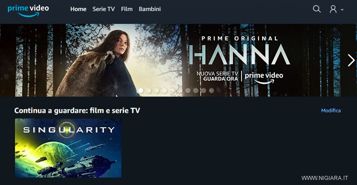 entra su Amazon Prime Video e comincia a vedere un film