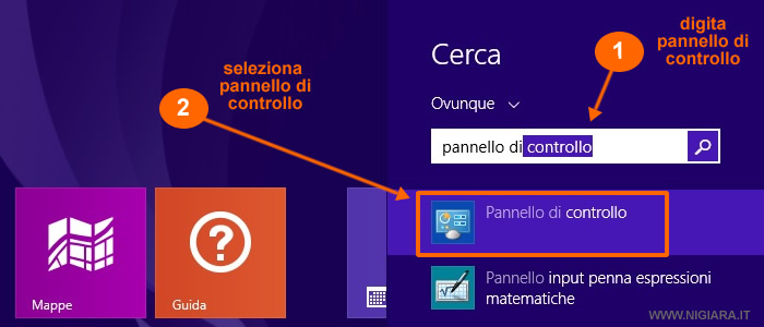 come accedere al pannello di controllo di Windows