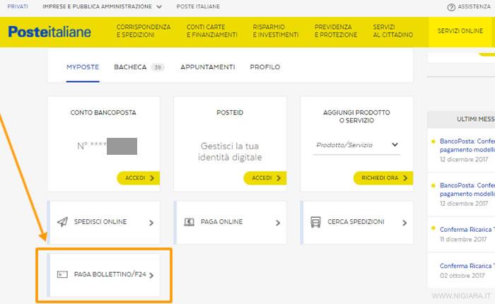 Clicca Su PAGA BOLLETTINO / F24