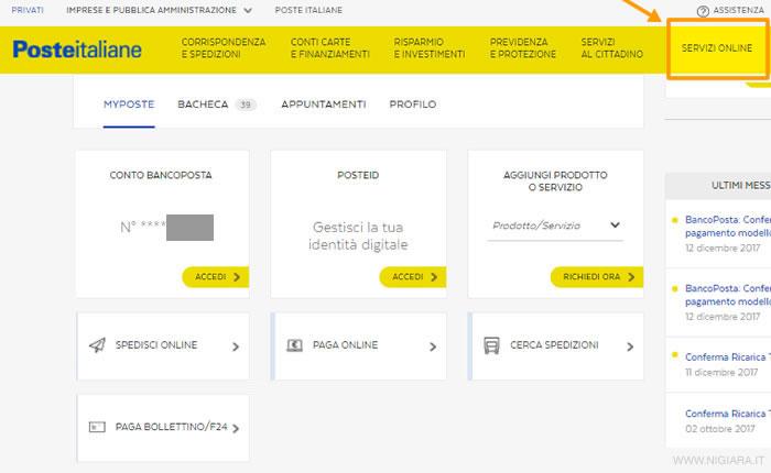 Estratto conto online - Poste Italiane