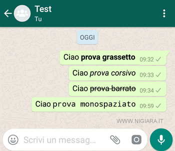 come scrivere in grassetto, corsivo, barrato, monospaziato su Whatsapp